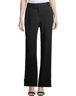 Wide-leg Cuffed Pants