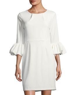 Balloon-sleeve Sheath Dress
