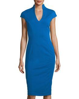 V-neck Cap-sleeve Sheath Dress