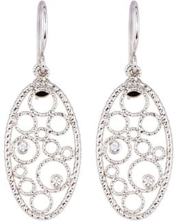 Bollicine Small 18k White Gold Drop Earrings With Diamonds