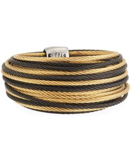 Noir Steel & 18k Micro Cable Ring