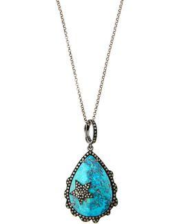 Champagne Diamond & Turquoise Teardrop Pendant Necklace