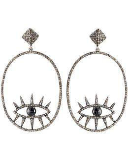 Diamond & Spinel Oval Evil Eye Drop Earrings