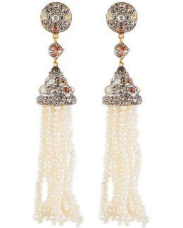 Multicolored Diamond & Pearl Beaded Tassel Earrings
