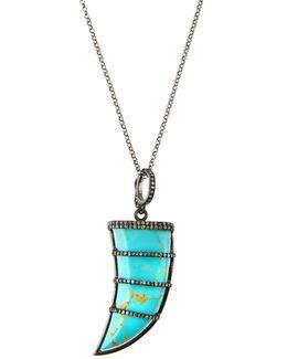 Turquoise Talon Pendant Necklace W/ Pave Diamonds
