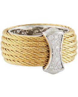 Classique Steel & 18k Diamond Micro Cable Ring