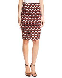 Geometric High-waist Pencil Skirt