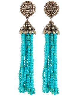 Diamond & Turquoise Statement Tassel Earrings
