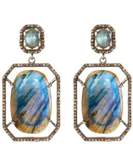 Octagonal Labradorite & Diamond Drop Earrings