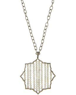 Long Diamond & Labradorite Geometric Pendant Necklace