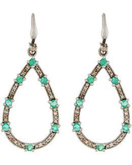 Champagne Diamond & Emerald Teardrop Earrings
