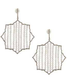 Geometric Diamond & Labradorite Beaded Drop Earrings