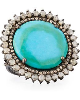 Round Turquoise & Diamond Cocktail Ring