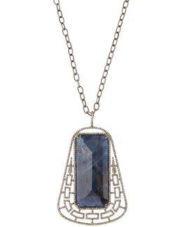 Long Geometric Sapphire & Diamond Pendant Necklace