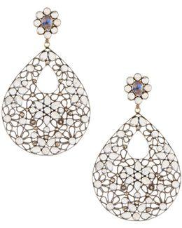 Rainbow Moonstone & Champagne Diamond Drop Earrings