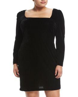 Square-neck Long-sleeve Velvet Dress