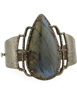 Statement Labradorite & Diamond Bangle Bracelet