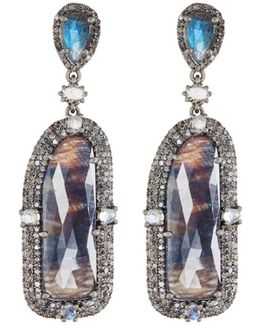 Diamond & Mixed Gem Statement Drop Earrings