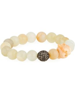 Moonstone & Diamond Beaded Stretch Bracelet