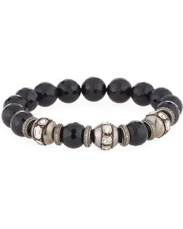 Black Onyx & Mixed Diamond Beaded Stretch Bracelet
