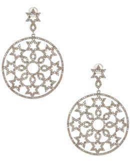 Champagne Diamond Six-point Star Drop Earrings