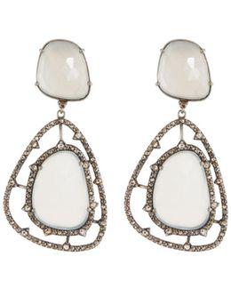 Champagne Diamond & Moonstone Drop Earrings