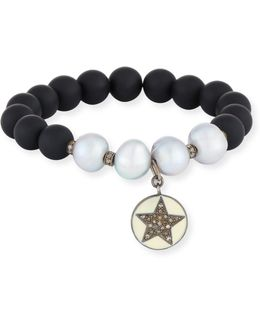 Onyx & Pearl Beaded Stretch Bracelet W/ Diamond Star & Moon Charm