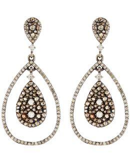 Mixed Diamond Teardrop Earrings