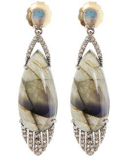 Mixed Labradorite & Diamond Teardrop Earrings
