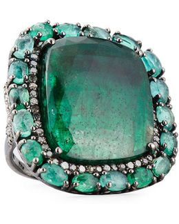 Square Emerald & Pave Diamond Cocktail Ring