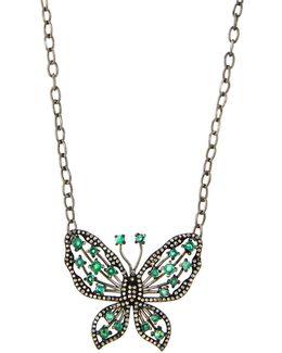 Emerald & Diamond Butterfly Pendant Necklace