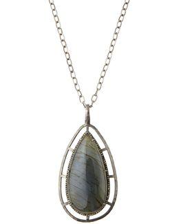 Teardrop Labradorite & Champagne Diamond Pendant Necklace