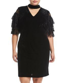 Lace-sleeve Choker-neck Dress