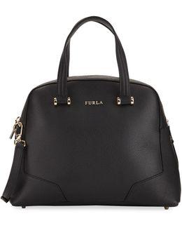 Michelle Medium Leather Domed Satchel Bag
