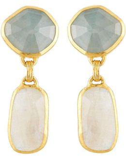 Elements 24k Mixed Sapphire Double-drop Earrings