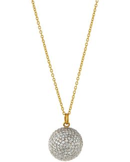 Pave Diamond Round Pendant Necklace