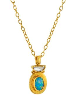 Paradiso 24k Diamond & Opal Pendant Necklace