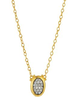 Celestial Moonstruck 24k Small Oval Diamond Pendant Necklace
