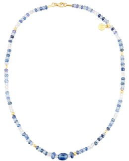 Single-strand Quartz & Sapphire Beaded Necklace