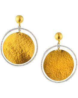 Circle Geo 24k Pave Diamond Flake Drop Earrings