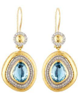 Elements Ice 24k Blue Topaz & Diamond Drop Earrings