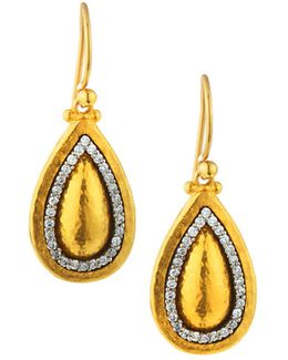 24k Domed Pear Drop Earrings W/ Diamonds