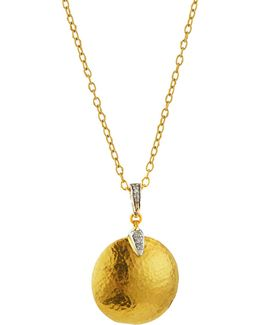24k Hammered Disc Pendant Necklace W/ Diamonds