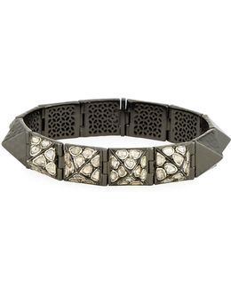 Hinged Pyramid Stud Bangle W/ Diamond Slices