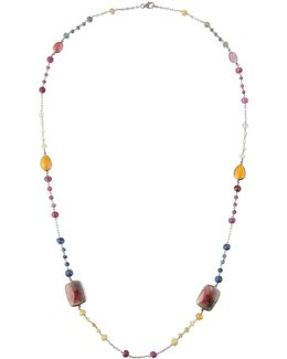 Long Multicolor Sapphire & Diamond Beaded Necklace