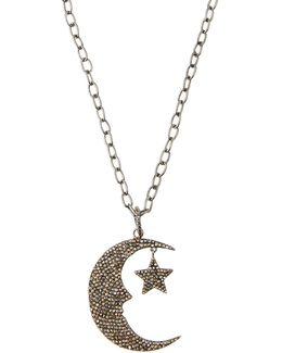 Long Pave Diamond Moon & Star Pendant Necklace