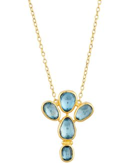 24k Blue Topaz 5-stone Pendant Necklace