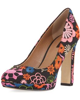 Brentwood Embroidered Platform Pump
