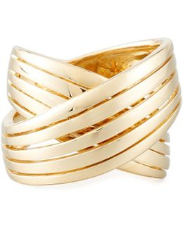 18k Wide Crossover X Ring