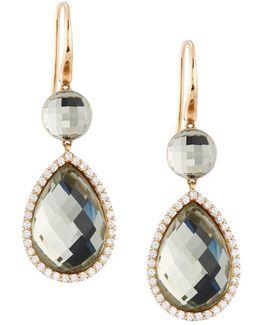 18k Rose Gold Diamond & Amethyst Doublet Drop Earrings